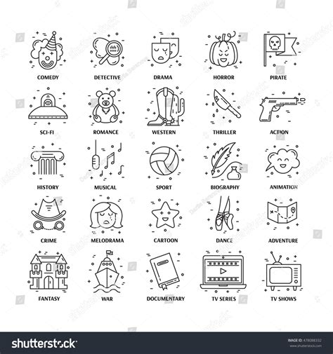 fantasy film genre elements vector set movie genres line icons stock vector 478088332
