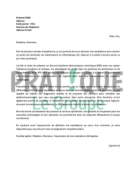 Exemple De Lettre De Motivation Technicien lettre de motivation pour un emploi de technicien de