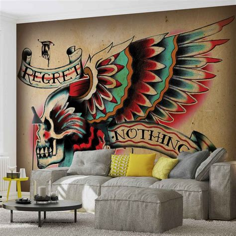 mural tattoo skull wing wall paper mural buy at europosters