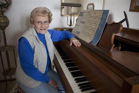 77 year barbara walden enjoys piano for