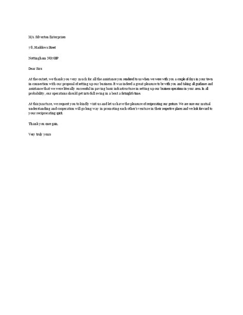 Business Thank You Letter To Another Company For