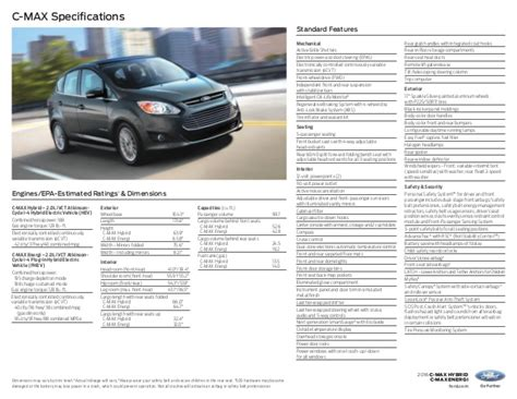 Ford C Max Interior Dimensions by 2016 Ford C Max Hybrid Energi