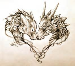 Dragon and wolf tattoo design by lucky978 on deviantart