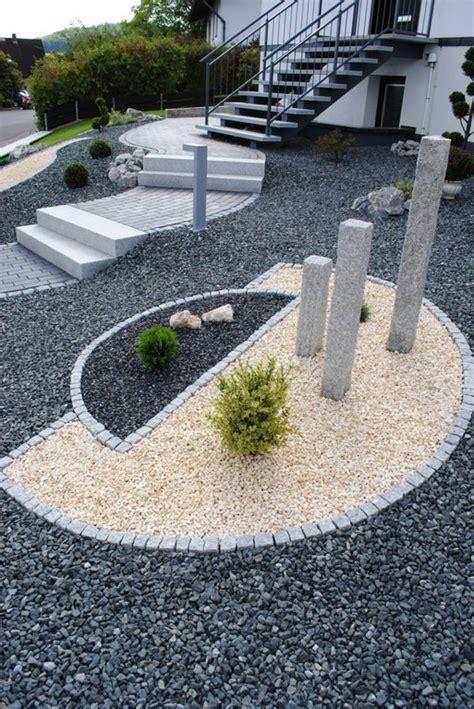 vorgartengestaltung mit kies modern nowaday garden