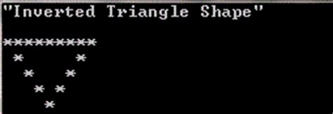 triangle pattern in c using for loop inverted triangle shape in c code using for loop c