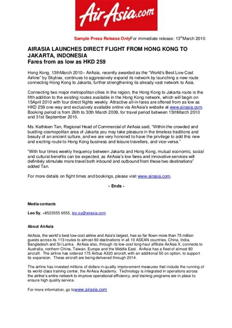 album press release template sle press release for airasia