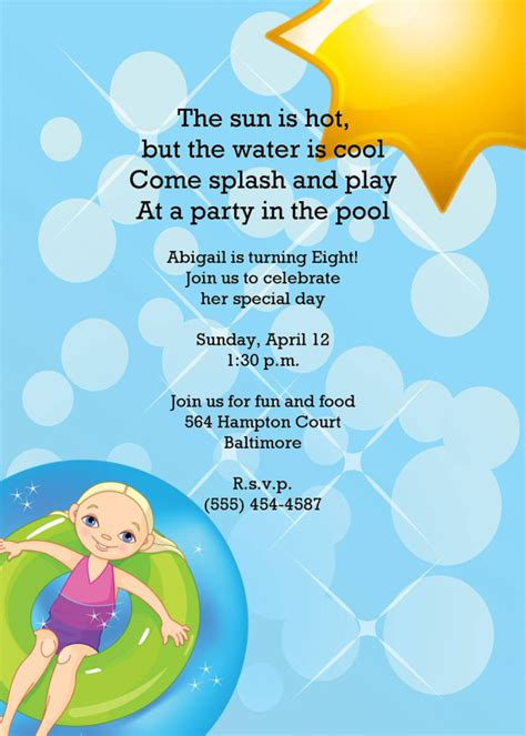 8th birthday invitation templates swimming pool birthday invitation stealing the