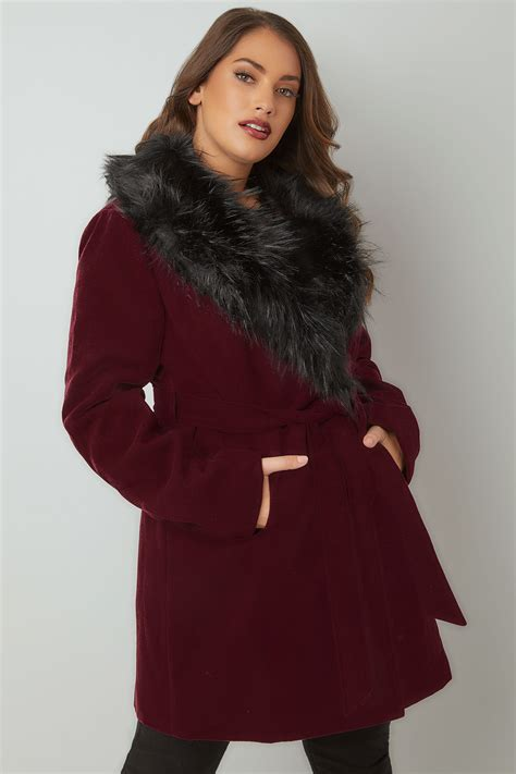 Swager Size 27 Burgundy burgundy coat with faux fur collar tie waist plus size 16 to 36