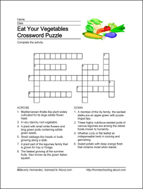 printable crossword puzzles vegetables eat your vegetables printables crossword and more