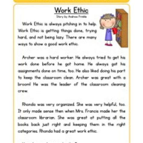 themes for reading comprehension character stories comprehension work ethic reading