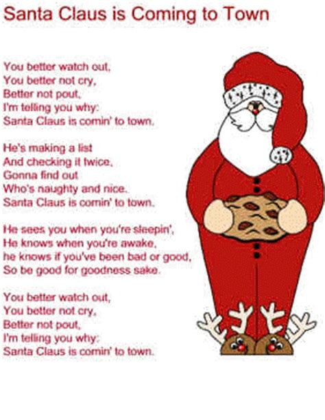 printable lyrics for santa claus is coming to town santa claus is coming to town lyrics