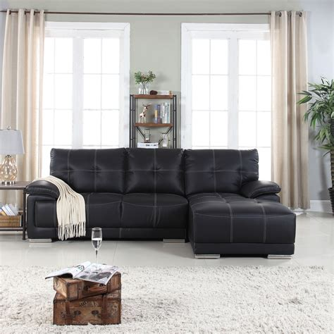 Faux Leather Sectional Sofa classic tufted faux leather sectional living room sofa