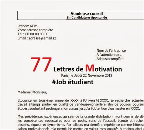 Lettre De Motivation Vendeuse L étudiant 77 Lettres De Motivation 233 Tudiant Rapportdestage