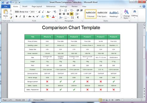 comparison chart templates for word