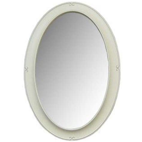 white framed oval bathroom mirror white wash oval framed mirror with bevel shop hobby