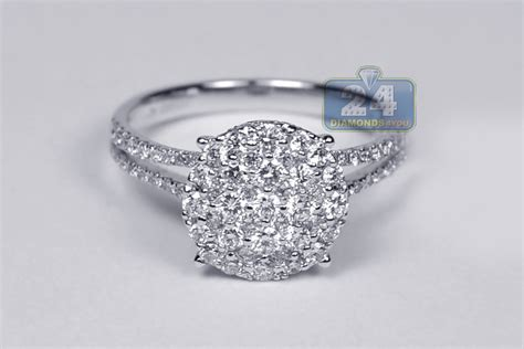 womens cluster engagement ring 18k white gold 1 00 ct