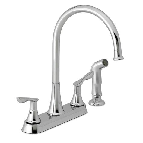 gooseneck kitchen faucet waterpik kfne213 newcastle gooseneck 2 handle kitchen