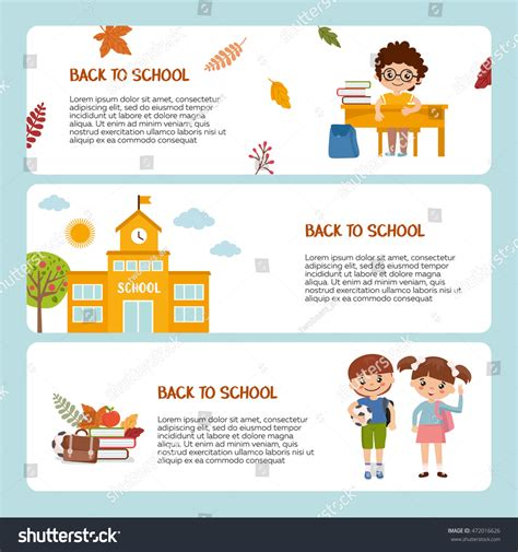 back to school card template back school banner template pupil school stock vector
