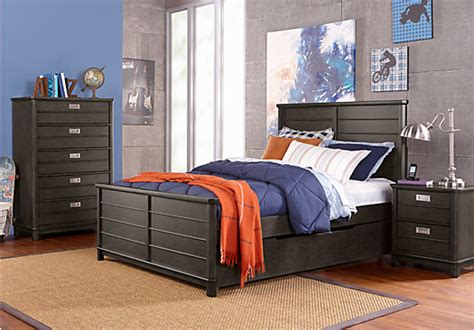 full bedroom sets for boys bay street charcoal dark gray 5 pc full panel bedroom
