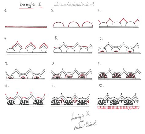 easy pattern drafting tutorial how to draw classic indian mehndi bangle ornament easy
