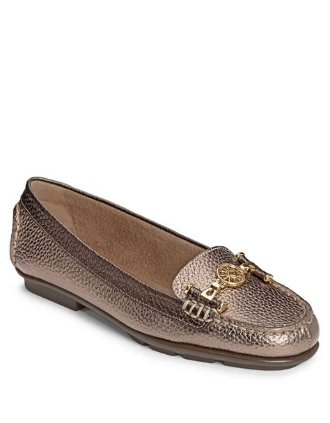 gold loafers aerosoles nuwlywed leather loafers in gold bronze lyst