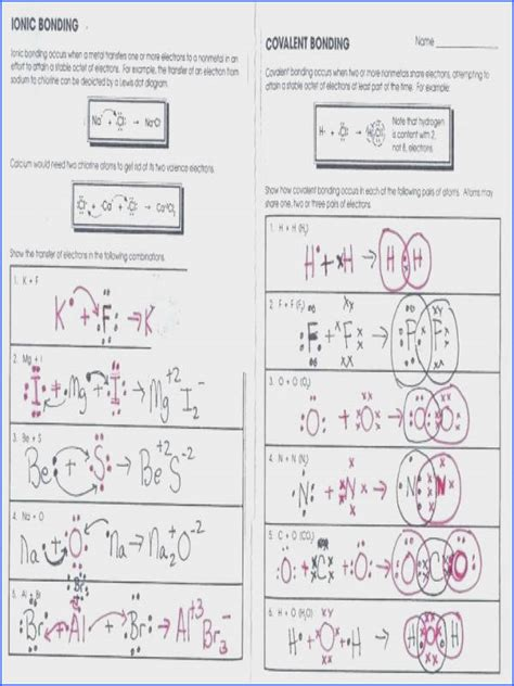 chemical bonding worksheet key ionic bonding worksheet mychaume