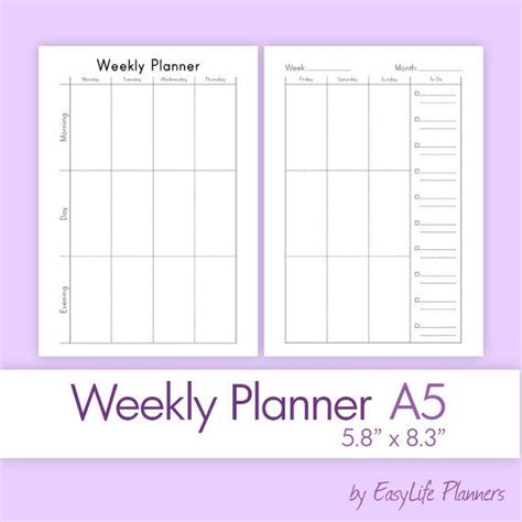 a5 calendar template weekly planner a5 5 83 x 8 27 printable pdf by