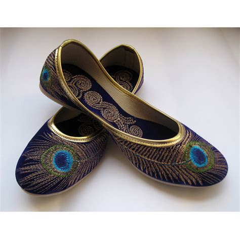 Handmade Indian Shoes - royal blue shoes gold shoes blue flats ethnic shoes velvet