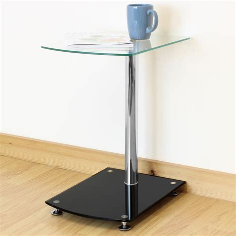 glass side tables for bedroom black clear glass side end sofa table lounge bedroom