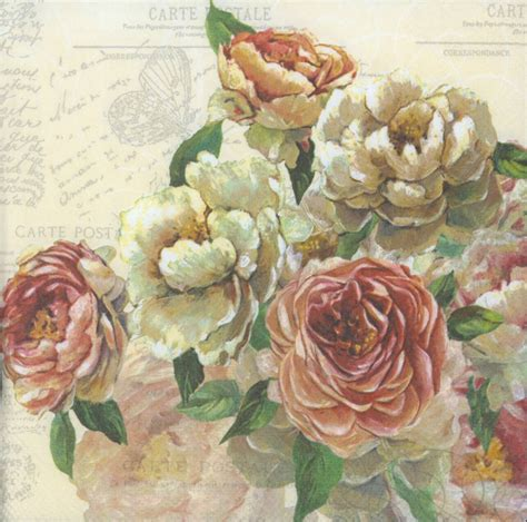 Decoupage Roses - decoupage napkins roses and postcards napkins