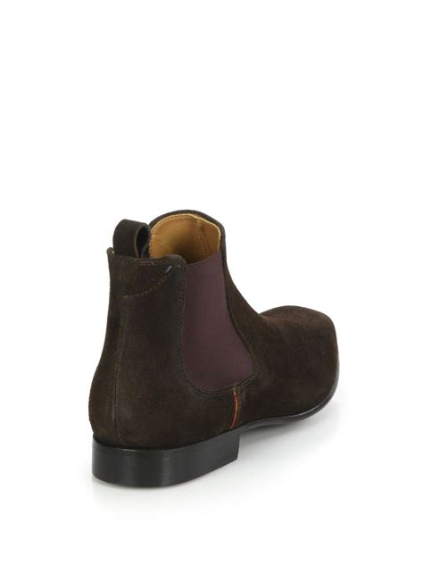 paul smith falconer suede chelsea boots in brown for