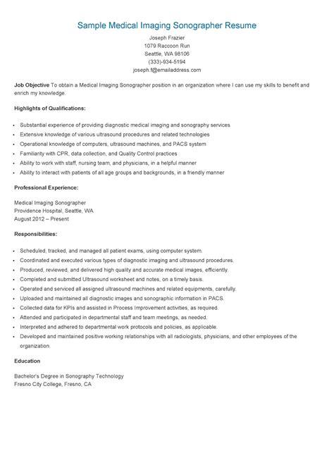 Resume Samples: Sample Medical Imaging Sonographer Resume