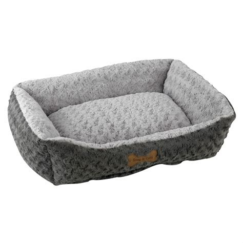 gray dog bed snug and cosy rectangle tuscany dog bed grey fleece cagesworld