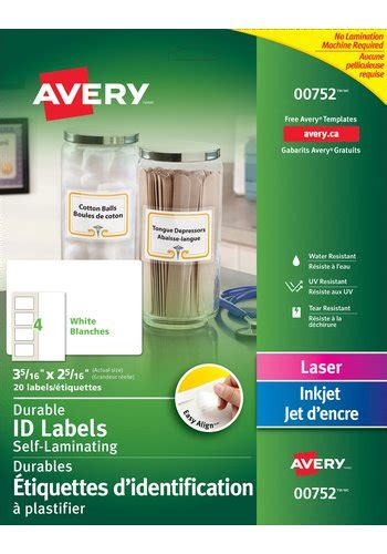 Avery Laminated Id Card Template by Avery Easy Align Self Laminating Id Labels 00752 3 5 16