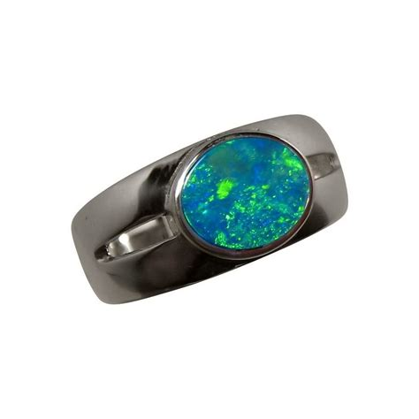 opal silver ring blue green oval gem flashopal