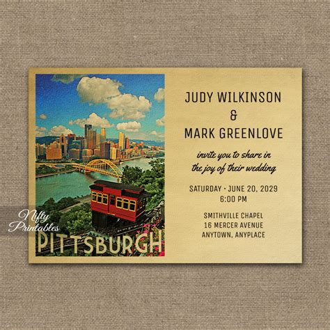 Wedding Invitations Pittsburgh by Pittsburgh Wedding Invitation Printed Nifty Printables