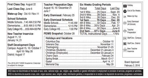 Bisd School Calendar Bisd School Calendar Calendar 2017 Printable