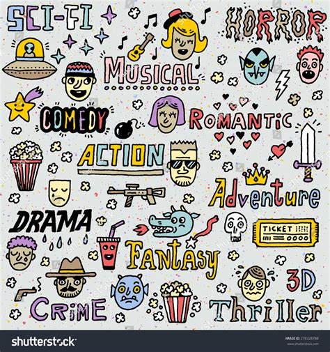doodle do tv show genres tv shows series doodle vector set