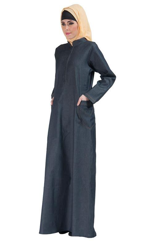 zipper front stretch denim abaya blue shop at discount