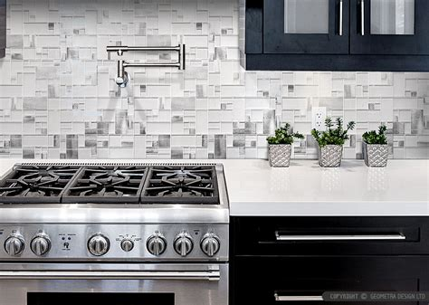 modern espresso cabinet white glass metal backsplash tile