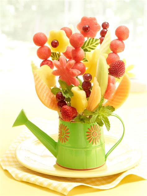fruit flower welcome spring with a watermelon flower vase carving