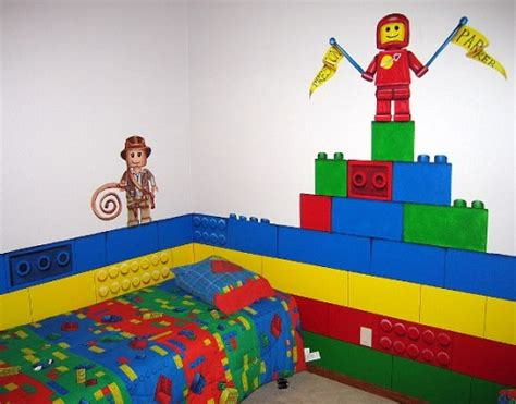decorate your bedroom walls with lego trying out toys