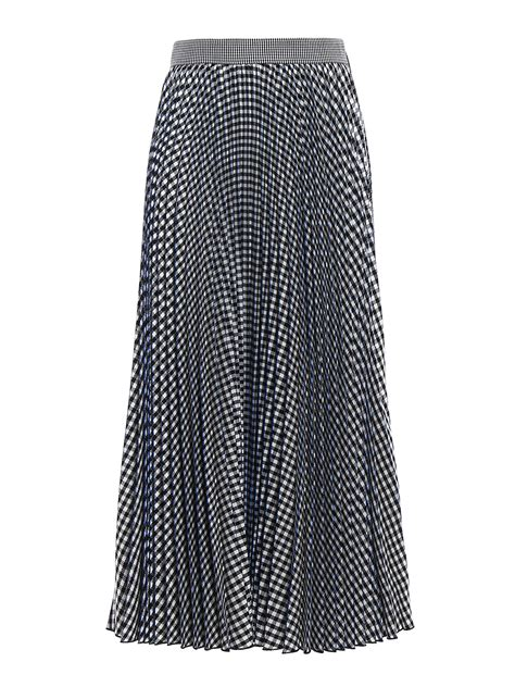 gingham print pleated midi skirt by m s g m knee length