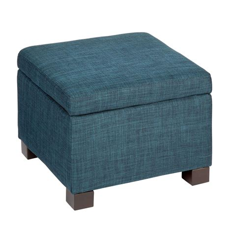 Upholstered Large Square Storage Ottoman In Blue Of Large Ottomans With Storage