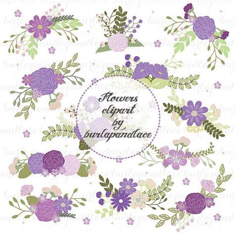 Laurel Wedding Clipart by Wedding Floral Clip Illustrated Digital Flowers