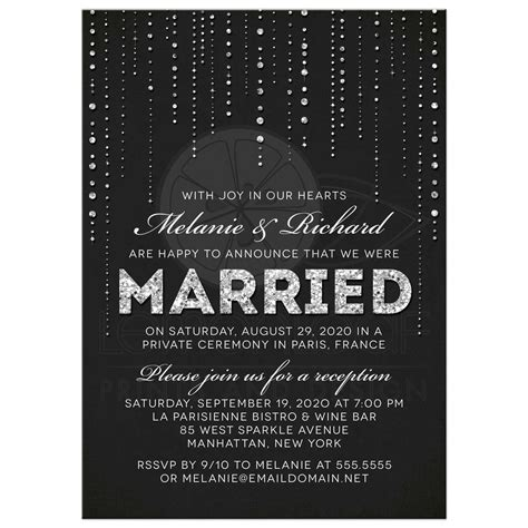 invitation wedding reception only post wedding reception only invitations glitter look