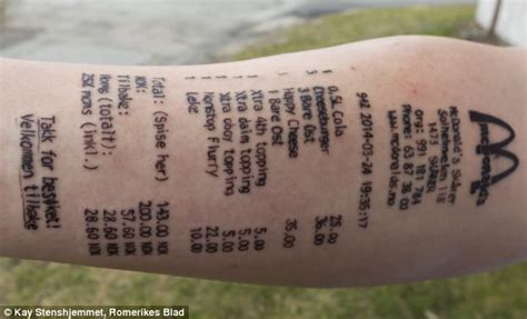 mcdonalds tattoo has mcdonald s receipt tattooed on his arm