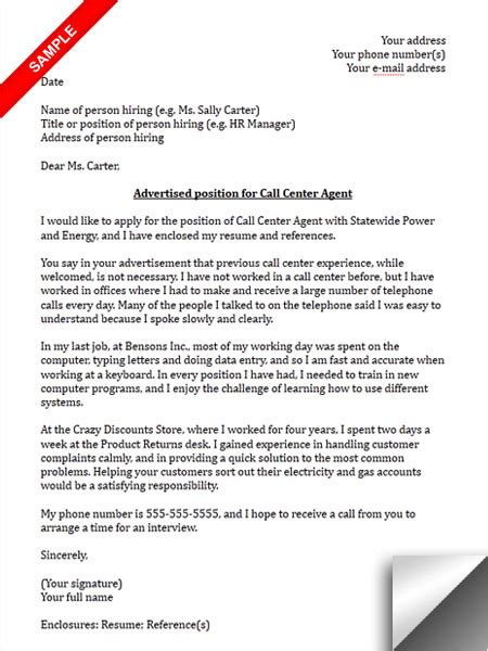 call centre sample cover letter