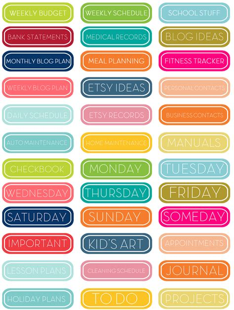 free printable planner tabs 1000 images about personal size planners on pinterest