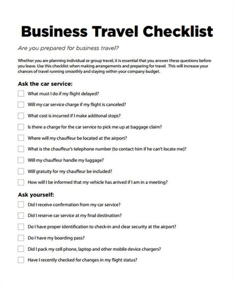 business travel template travel checklist templates 11 free sles exles format free premium templates